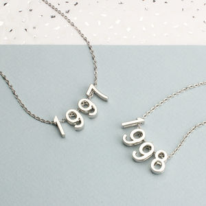 Silver Birth Date Necklace - stocking fillers