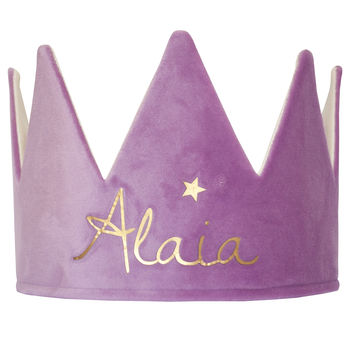 Personalised Purple Velvet Crown