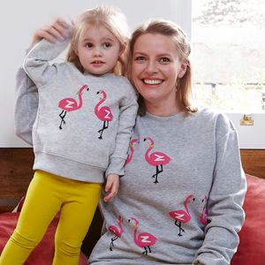 Flamingo Mum/Child Grey Marl Sweatshirts Set - women's fashion