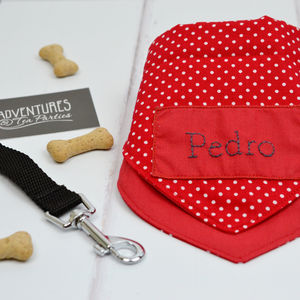 Personalised Dog Neckerchief : Red Polka Dots