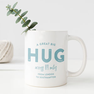Personalised Hug Across The Miles Locations Mug