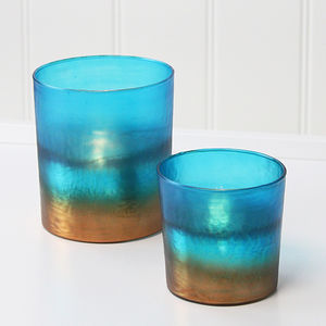 Teal And Copper T Light Holder - table decoration