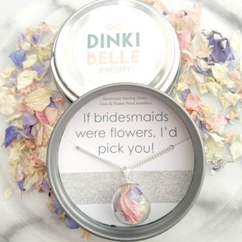 Bridesmaid Personalised Flower Petal Necklace