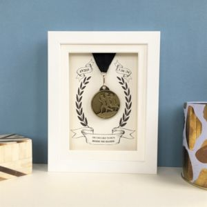 Personalised Marathon Medal White Display Frame