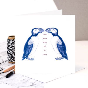 Love Card 'One Look Was All It Took' Puffins - anniversary cards