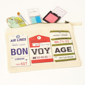 Personalised 'Bon Voyage' Make Up Bag - make-up & wash bags