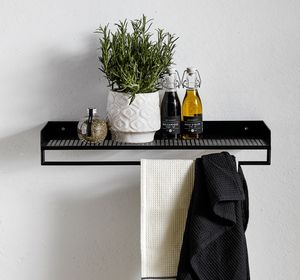 Danish Wall Mounted Towel Rail - shelves