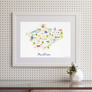 Map Of Cheshire - drawings & illustrations