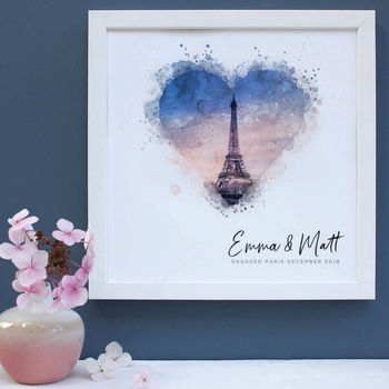 Personalised Watercolour Engagement Framed Print