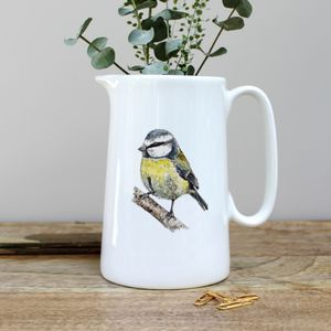 Bluetit One Pint Fine Bone China Jug - sugar bowls & cream jugs