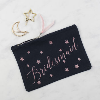 Bridal Party Personalised Star Print Glitter Pouch