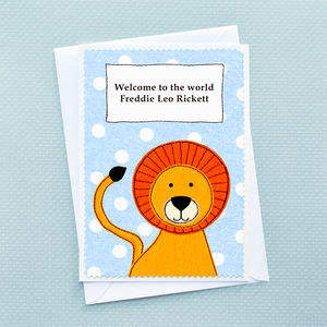 'Baby Lion' Personalised New Baby Card