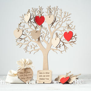 Wishing Tree Small Wooden Guest Book - albums & guest books
