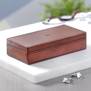 Personalised Leather Cufflink Box - for him