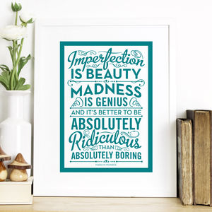 'Imperfection Is Beauty' Quote Print - what's new