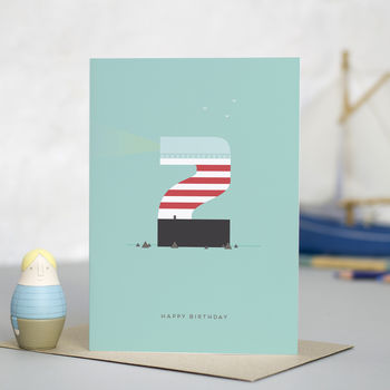 'Lighthouse' Happy 2nd Birthday Card
