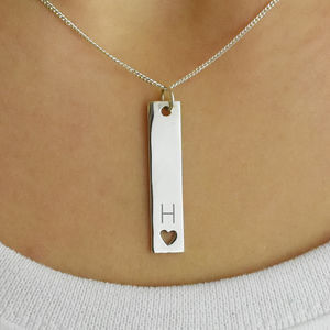 Personalised Initial Heart Bar Sterling Silver Necklace - new in jewellery