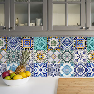 Traditional Spanish Tile Stickers Set Pack Of 24 - bathroom