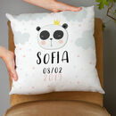 personalised panda childrens cushion with name and birth date adorable gift
