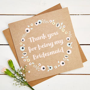 Thank You Bridesmaid Card Kraft Floral