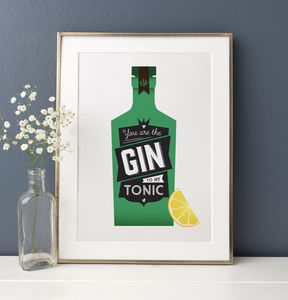 Gin And Tonic Kitchen Cocktail Print - posters & prints