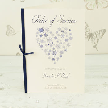 Ice Wedding Order Of Service A5 Booklet