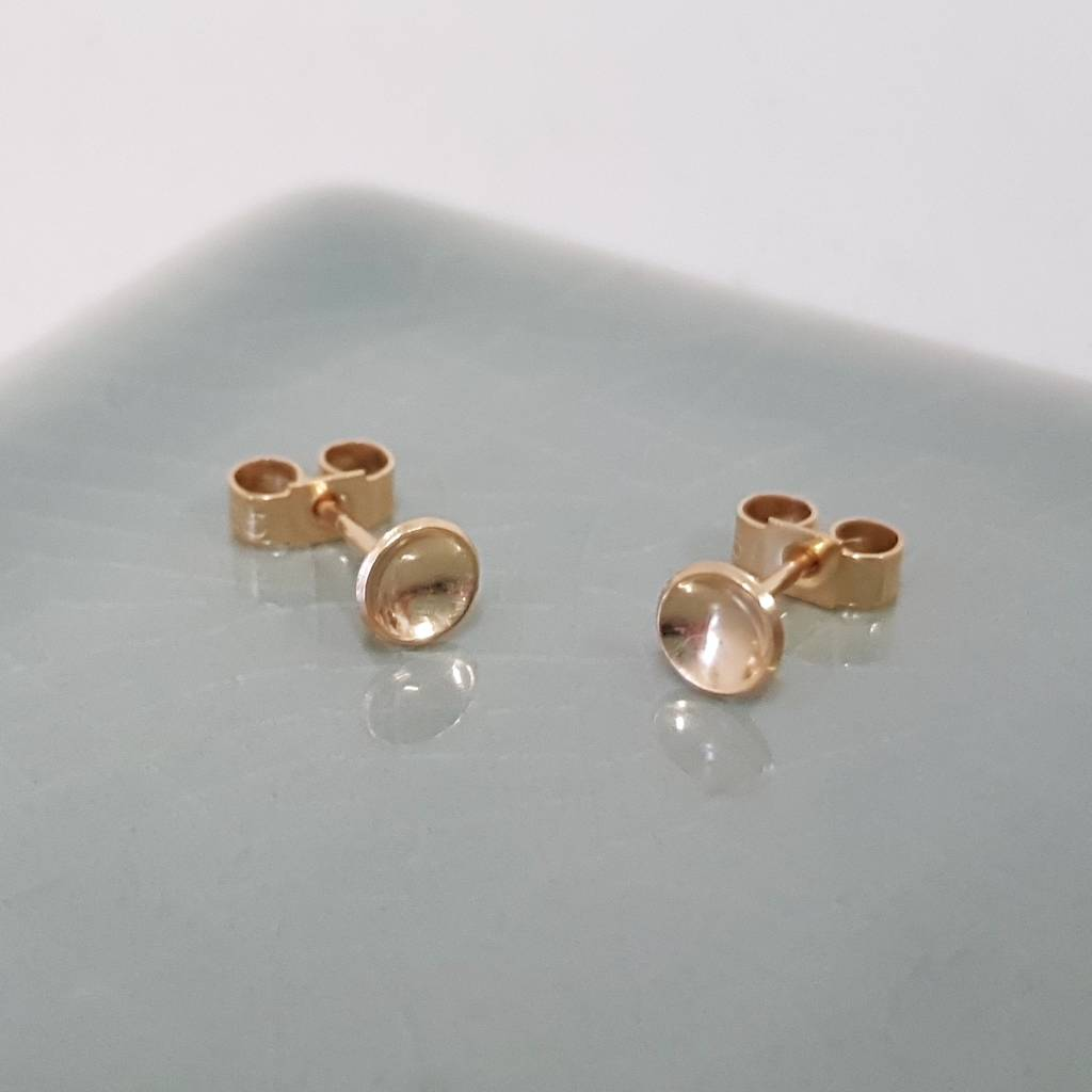 tiny modern post minimal media bar chic jewelry gold studs yellow gift weddbook earrings stud