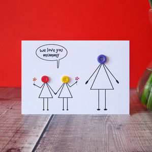 'Love You Mummy' Button Card - summer sale
