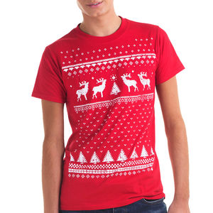 Mens Reindeer T Shirt In A Christmas Jumper Style - Mens T-shirts & vests