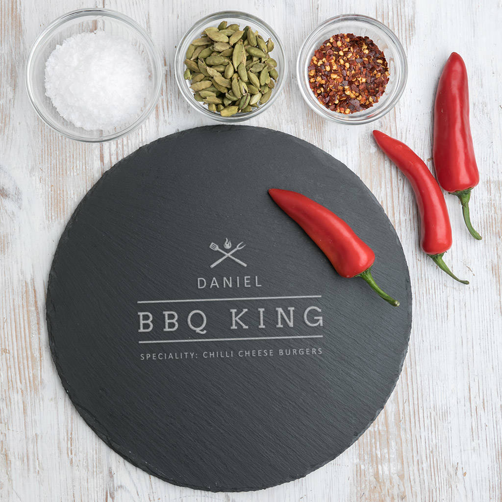 Dad The 'Bbq King' Slate Serving Board