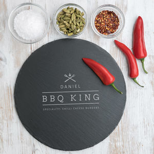 'Bbq King' Large Round Slate Serving Board