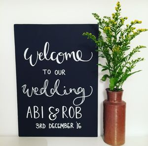 Personalised Wedding Welcome Chalkboard Sign - outdoor wedding signs