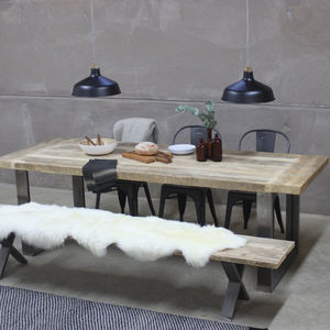 Trafalgar Reclaimed Wood Dining Table With Steel Frame - dining tables