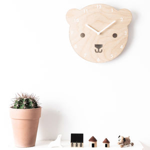 'Buster The Bear' Wooden Childrens' Clock - children's room