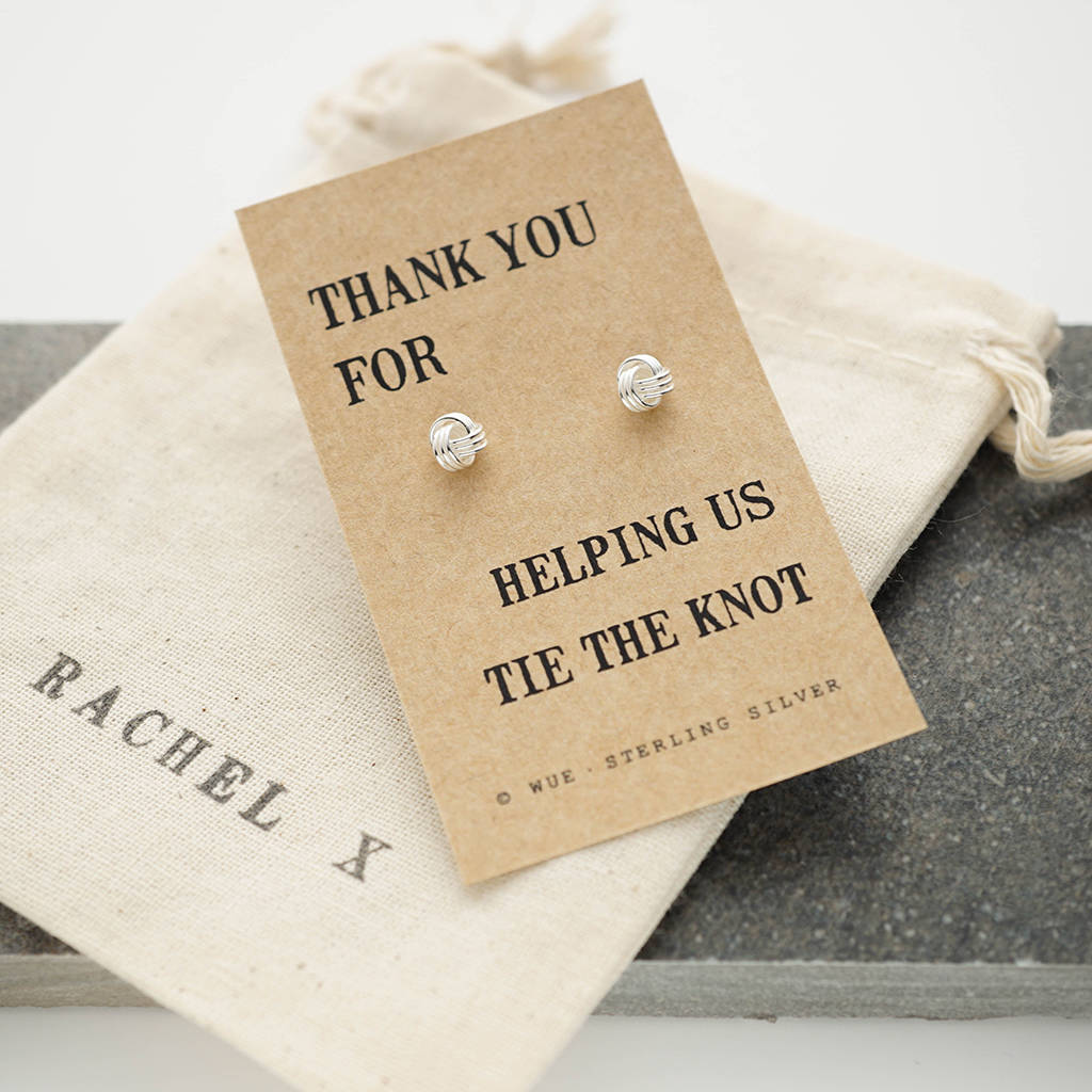 wedding thank you note for gift of money%0A Thank You Bridesmaid Knot Earrings