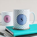 Set Of Two Personalised Monogram Mugs, Polka Dot