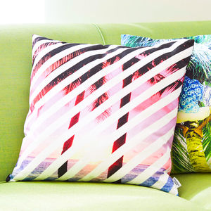 Geometric Tropical Palm Tree Pattern Cushion - living room