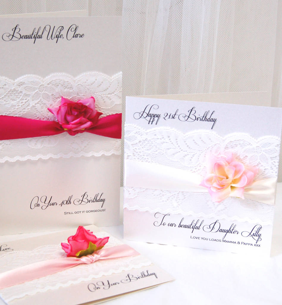 Daughters 21st Birthday Card With Lace Ivory Ribbon And Pale Pink Silk Rose Cards