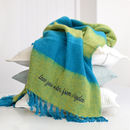 Personalised Blue And Lime Stripy Tassel Throw