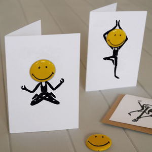 Happy Days Personlaised Yoga Card With Badge - blank cards