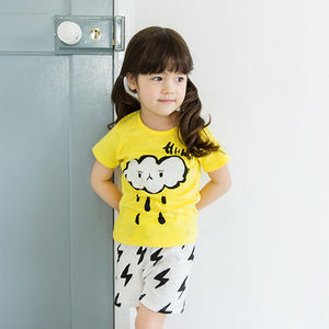 Cloud And Lightening Kids Pyjama Set - winter sale