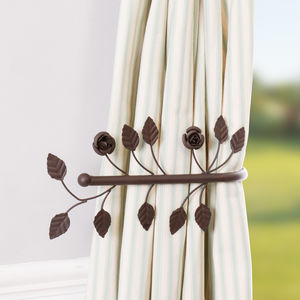 Antique Brown Leaf Curtain Tie Back - curtains & blinds