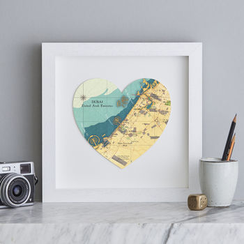 Personalised Location Dubai Map Heart Print