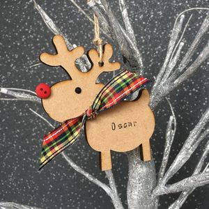 Personalised Christmas Rudolph Reindeer Decoration - baubles & hanging decorations
