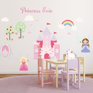 Princess And Unicorn Fabric Wall Stickers - unicorns