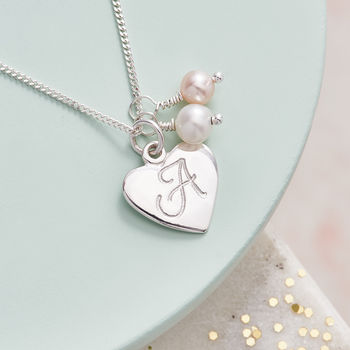Sterling Silver Initial Pendant - Pink Fresh Water Pearl