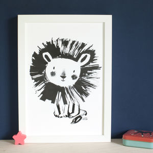 Cute Lion Wall Art Print - drawings & illustrations