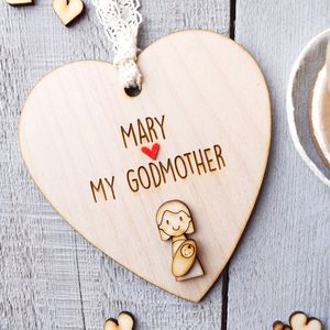 Personalised Godmother Keepsake Heart
