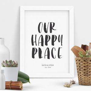 'Our Happy Place' Personalised Print - winter sale