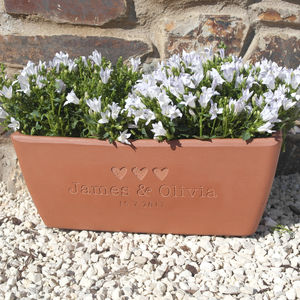 Engraved Message Terracotta Window Box - pots & planters